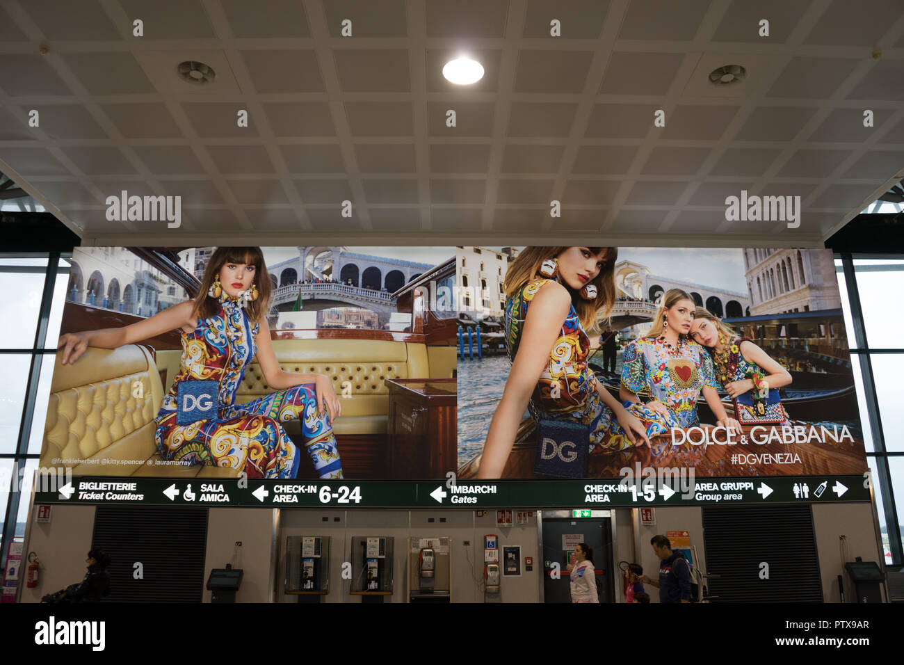 Milan Airport, Italy-April 2, 2018: Dolce and Gabbana advertisement at The milan Malpensa Airport - Stock Image