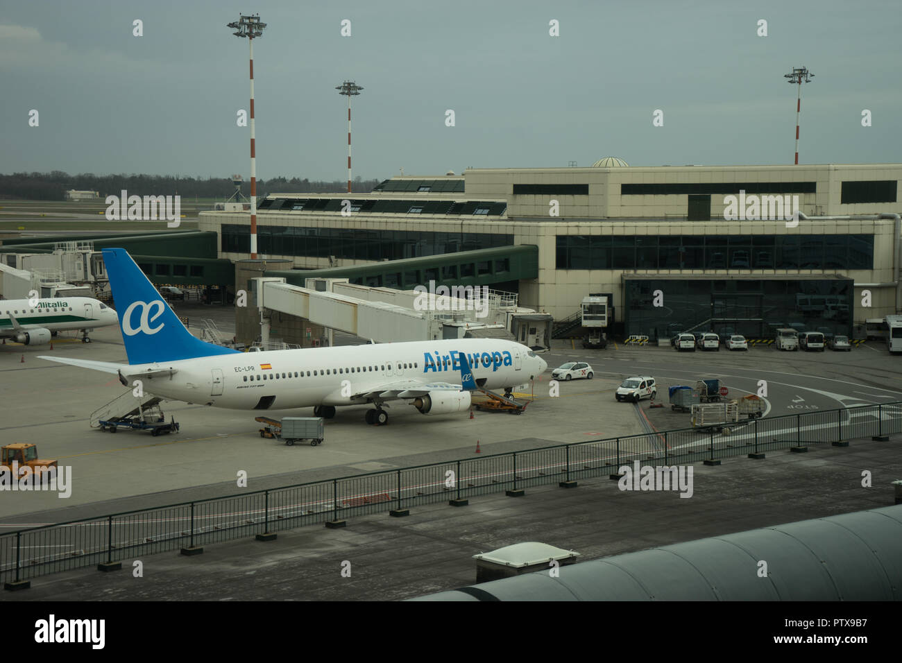 Milan Airport Italy April 2 2018 Air Europa Plane At The Milan Malpensa Airport Stock Photo Alamy
