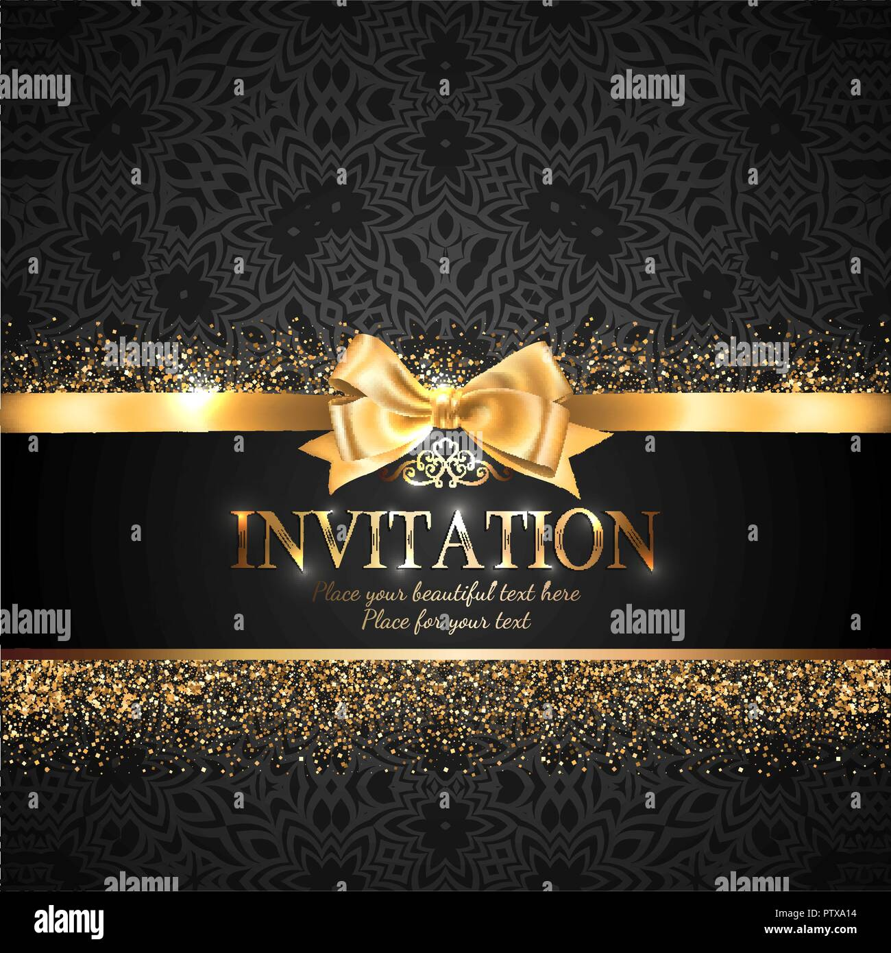 Gorgeous And Shiny Invitation Card Or Banner With Gold