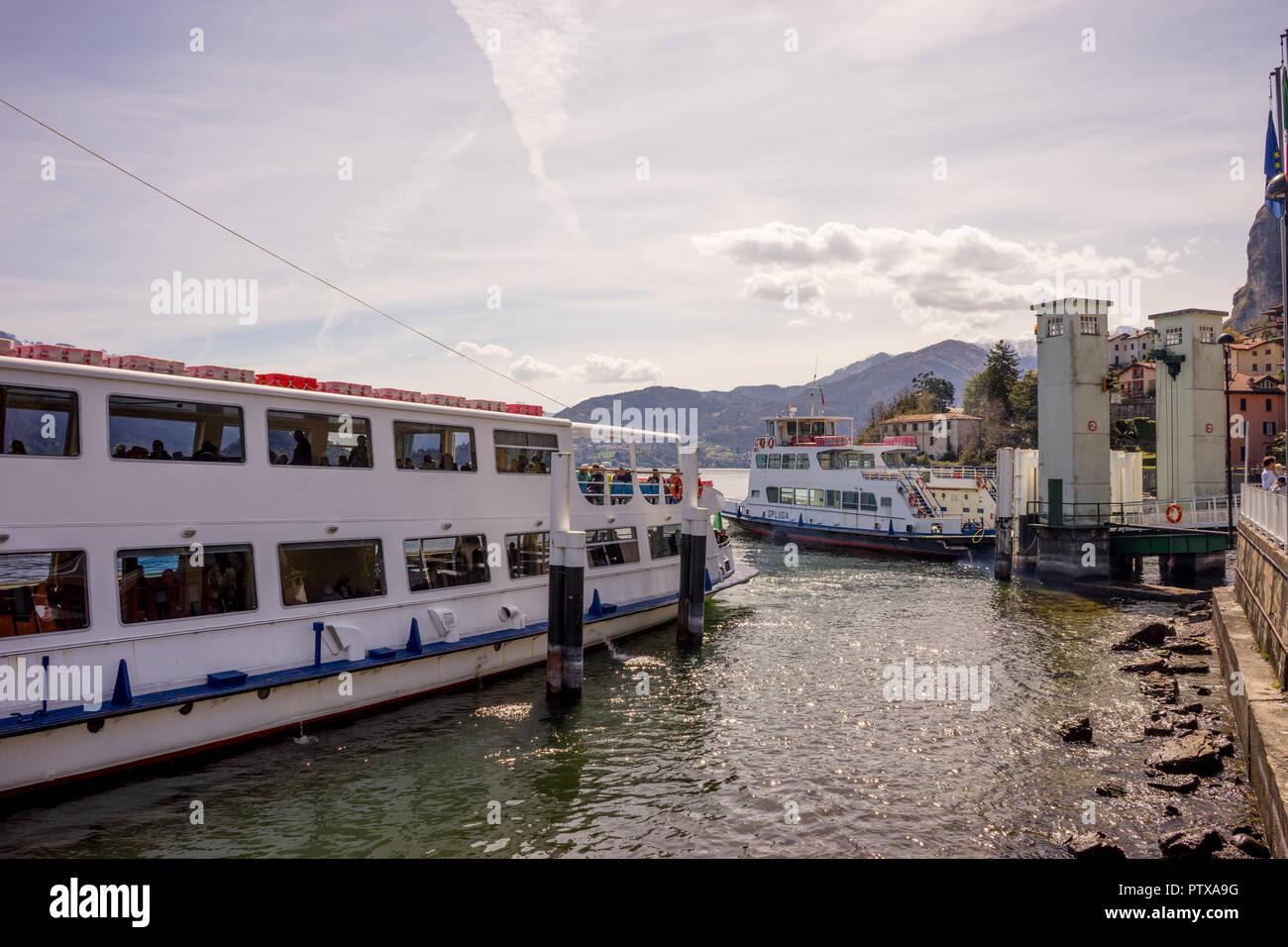 Menaggio, Italy-April 2, 2018: traffic jam with ferry boat