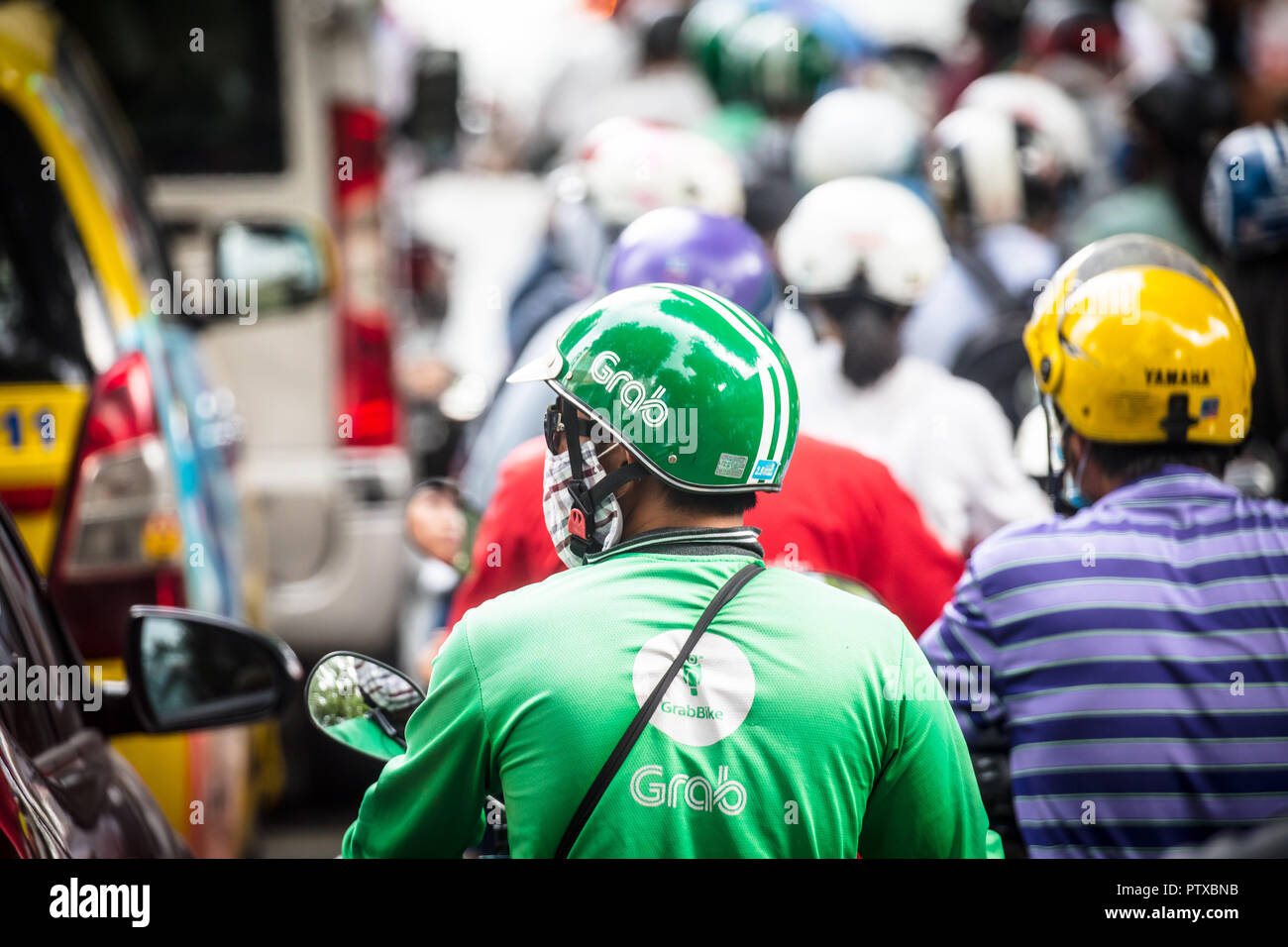 Grabbike Service in Vietnam - Stock Image