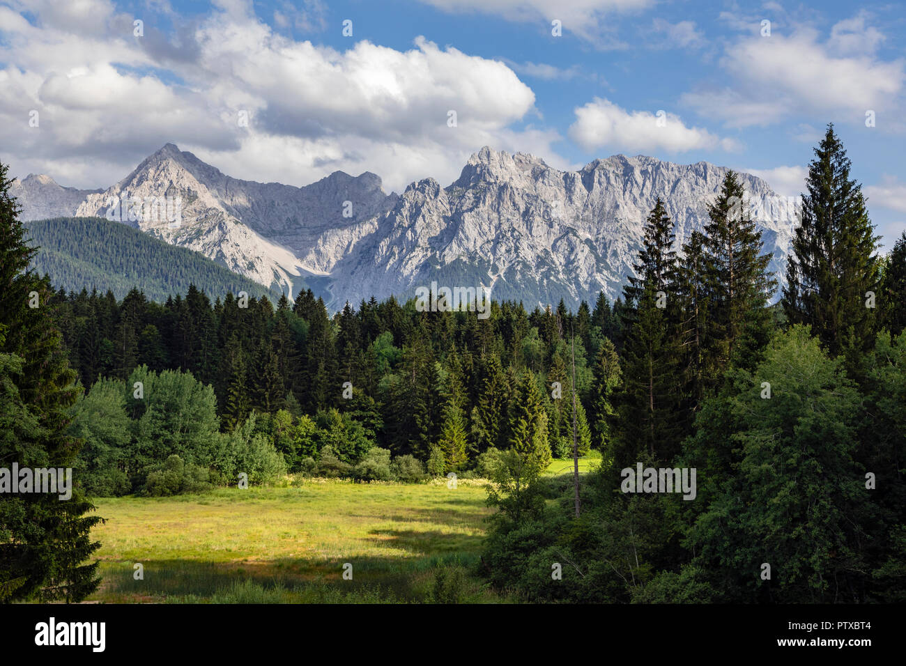 View from Tennsee to the Karwendel Mountain, Krün, Germany - Stock Image
