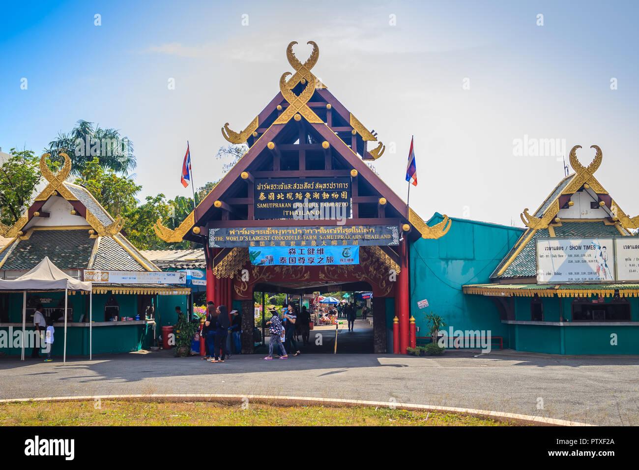 Samut Prakan, Thailand - March 25, 2017: Entrance gate of the Samut Prakan Crocodile Farm, the world's largest crocodile farm with over 60,000 crocodi - Stock Image