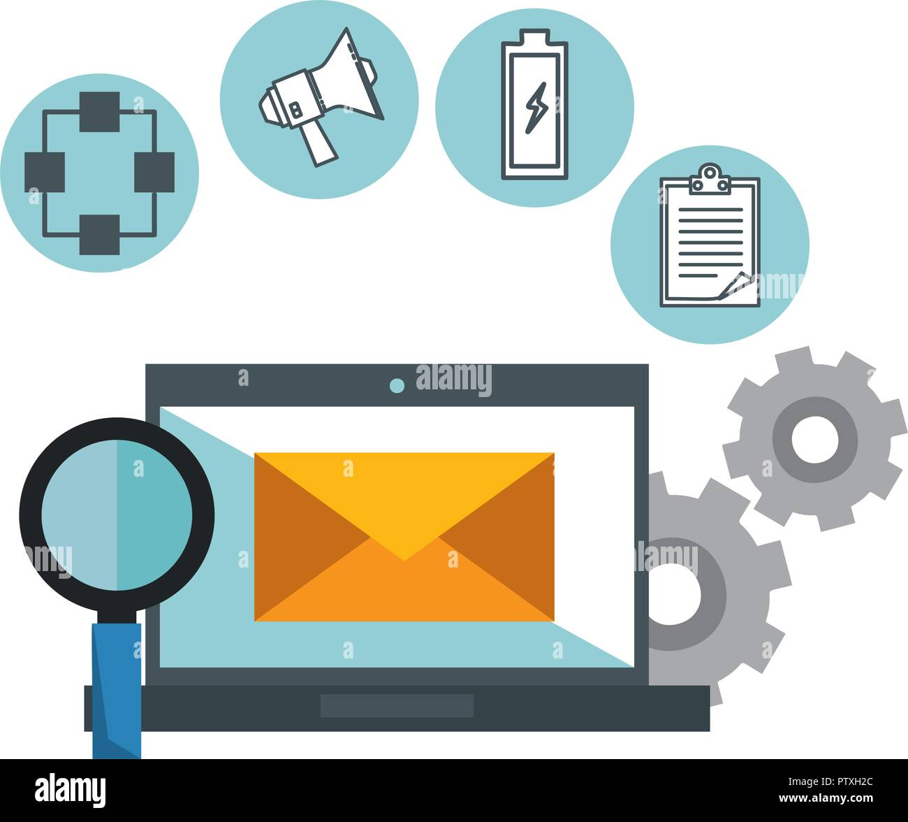 laptop with business icons - Stock Image