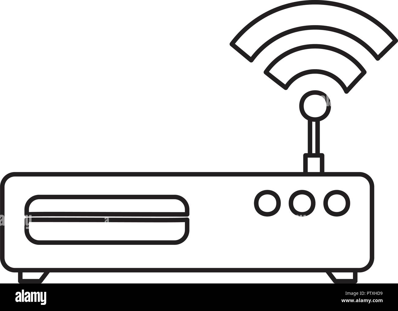 router with wifi signal - Stock Image