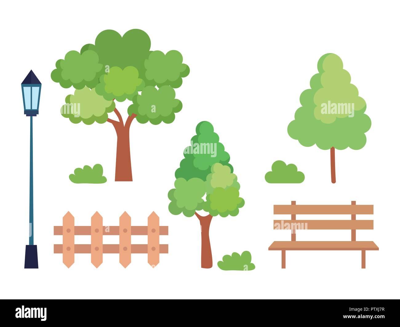 set icons park scene - Stock Image