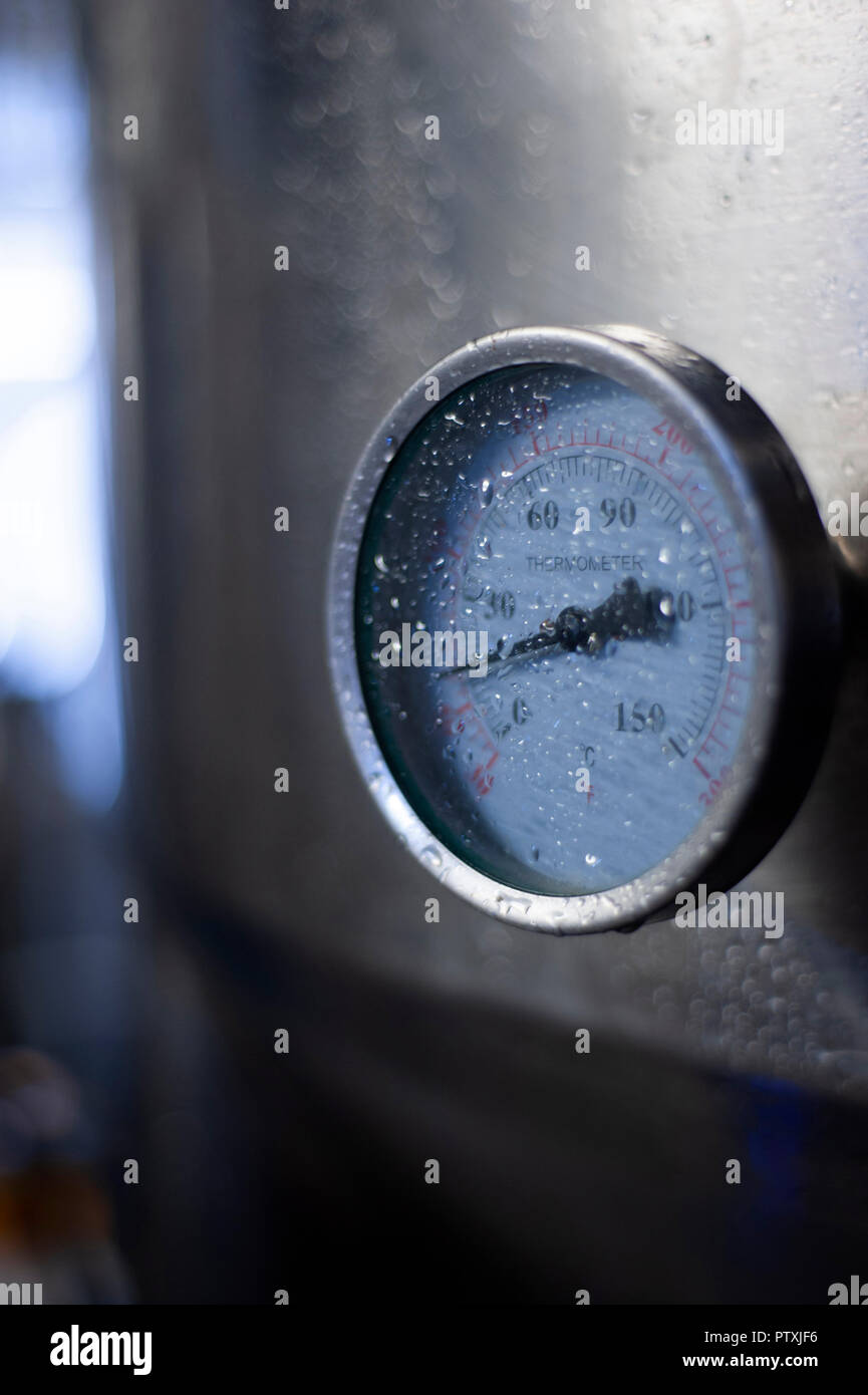 Pressure guage on mash tun in brewery - Stock Image