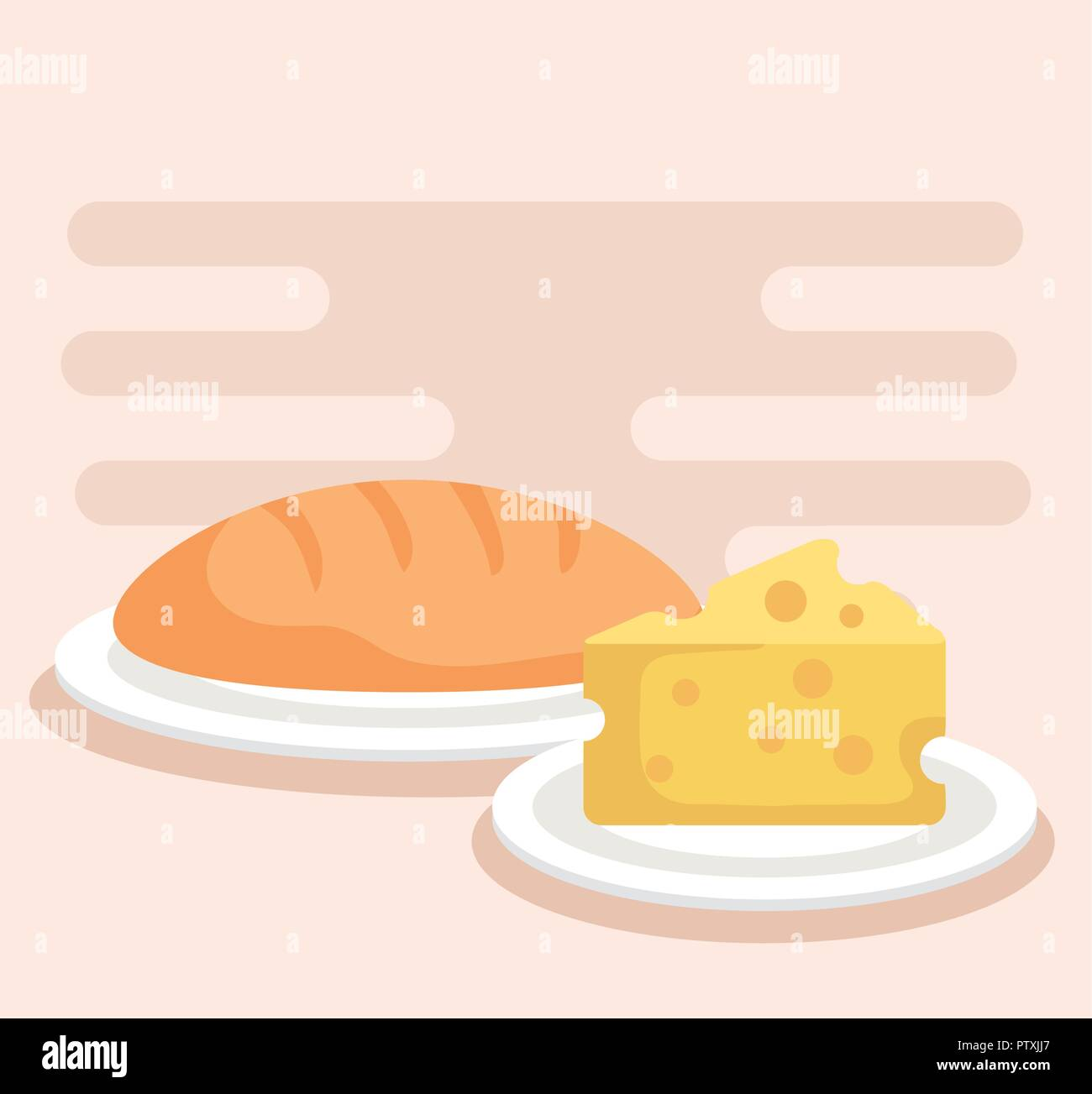 bread with cheese icons - Stock Image