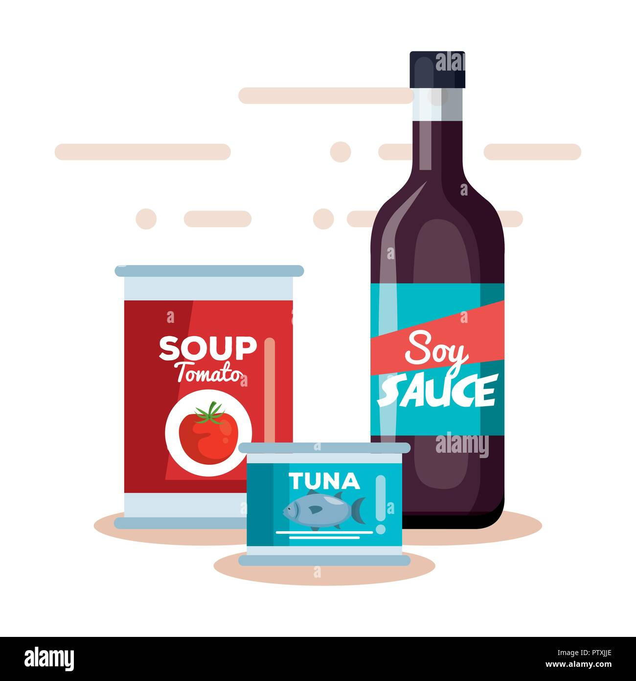 soy sauce with tomato soup and tuna can - Stock Image