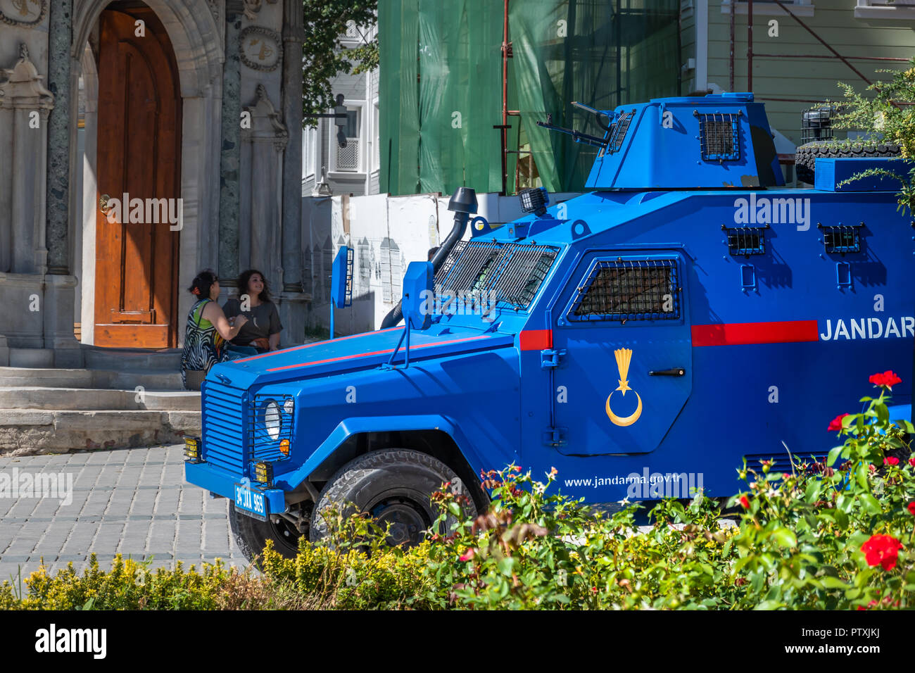 Istanbul, Turkey, September 2018: Bright blue painted armoured car of the Turkish police in front of the entrance of the Teppich Museum in the old tow Stock Photo