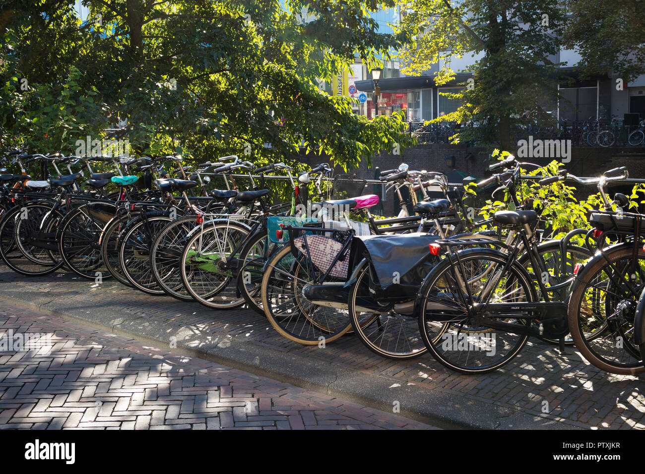 Utrecht, Netherlands - September 27, 2018: Traditional row of parked bicycles near the canal in the center of Utrecht - Stock Image