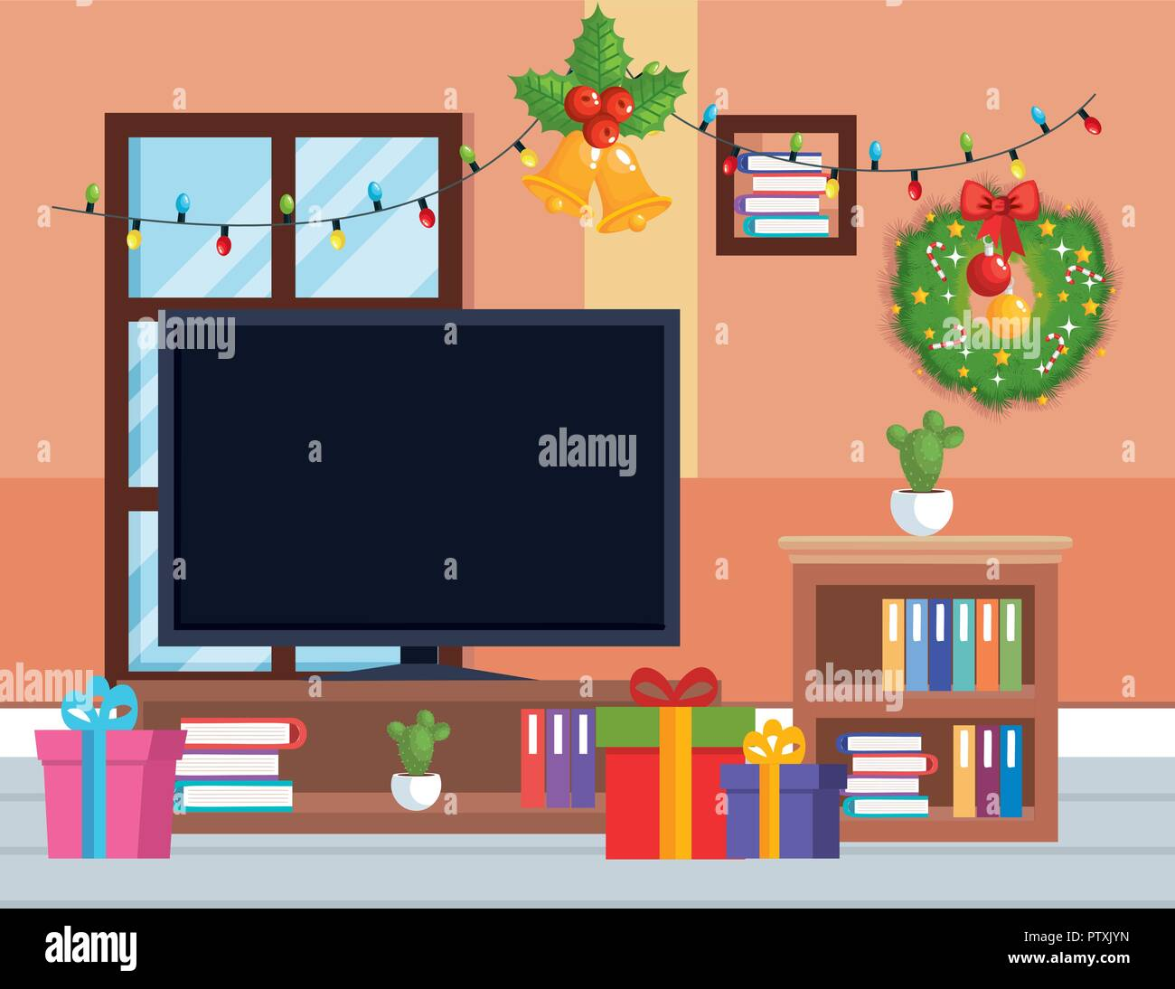 tv room with christmas decoration