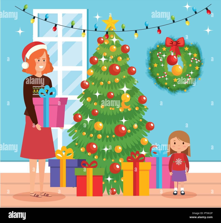 Mother Christmas Cartoon.Cartoon Mother Daughter In Winter Stock Photos Cartoon