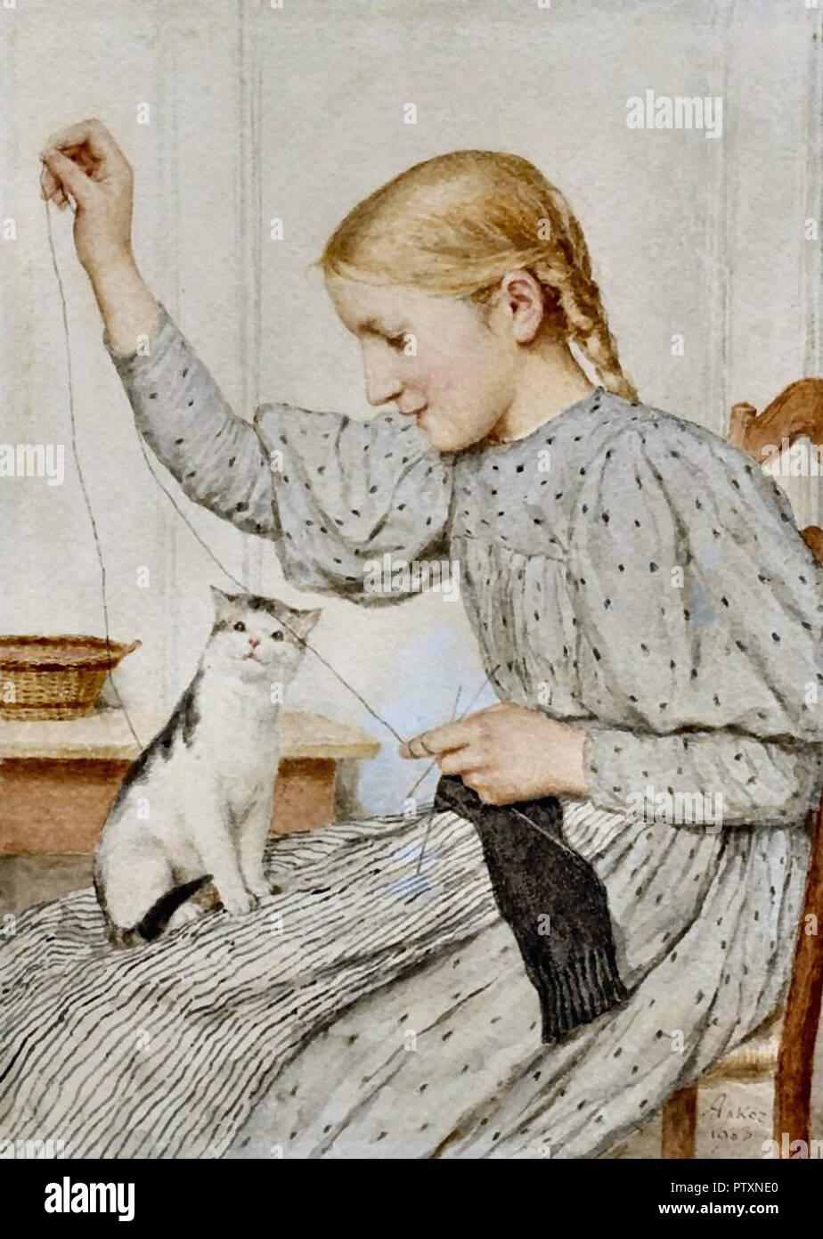 Anker Albert - Sitzendes Mädchen Mit Einer Katze - Stock Image