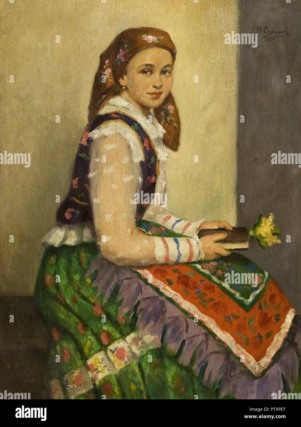 Surikov Vasily - Sitzendes Mädchen Mit Blume Und Buch - Stock Image