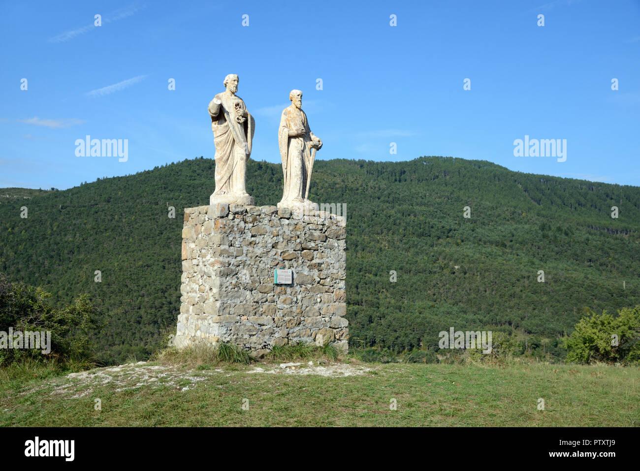 Sculptures or Statues of Saint Peter & Saint Paul (1891) above the town of Saint André-les-Alpes Alpes-de-Haute-Provence Provence France - Stock Image