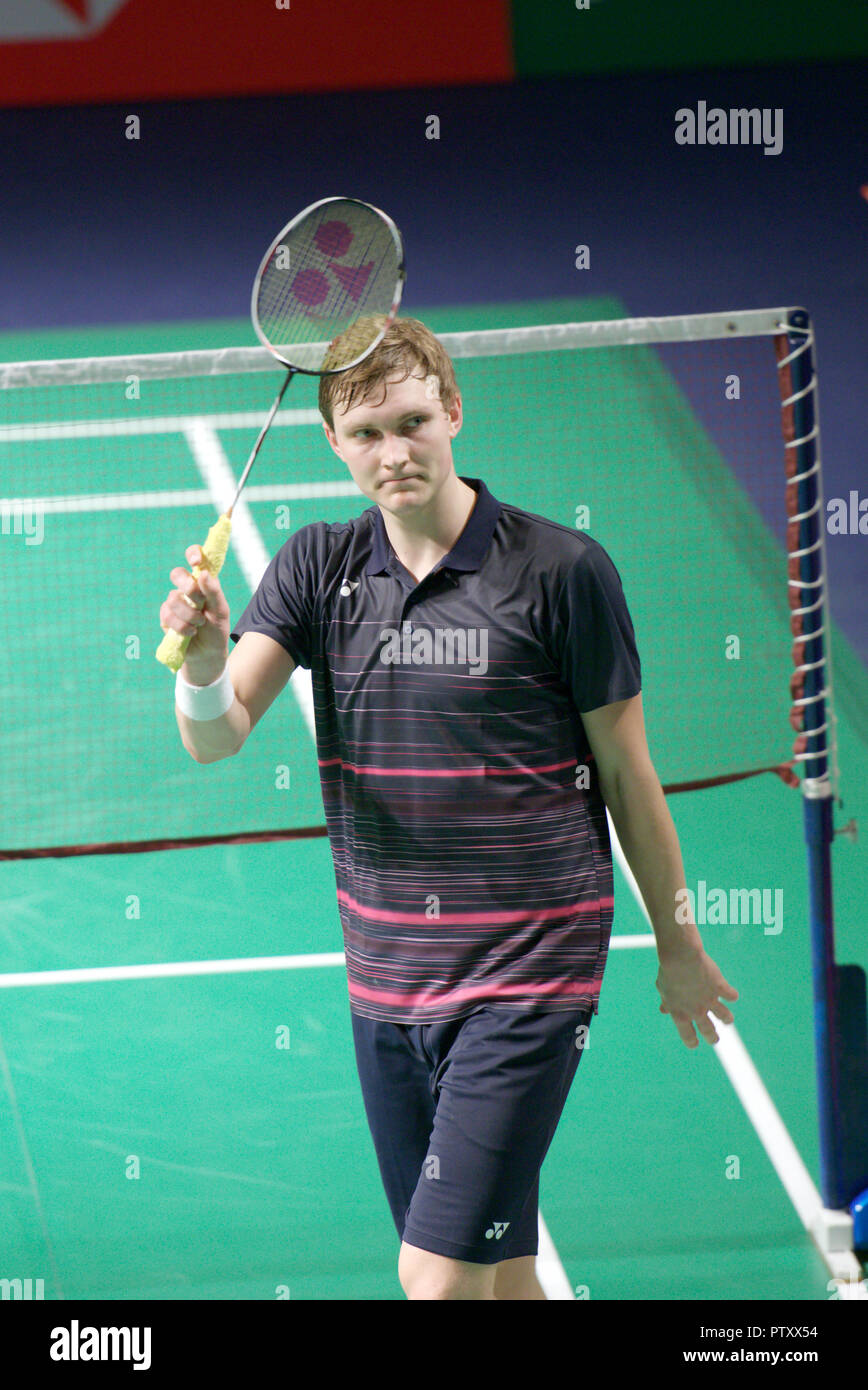 New Delhi, India. 30th March 2019. Viktor Axelsen of Denmark acknowledges the crowd after winning the second men's singles semi-final match at Yonex Sunrise India Open 2019 in New Delhi, India. Credit: Karunesh Johri/Alamy Live News - Stock Image