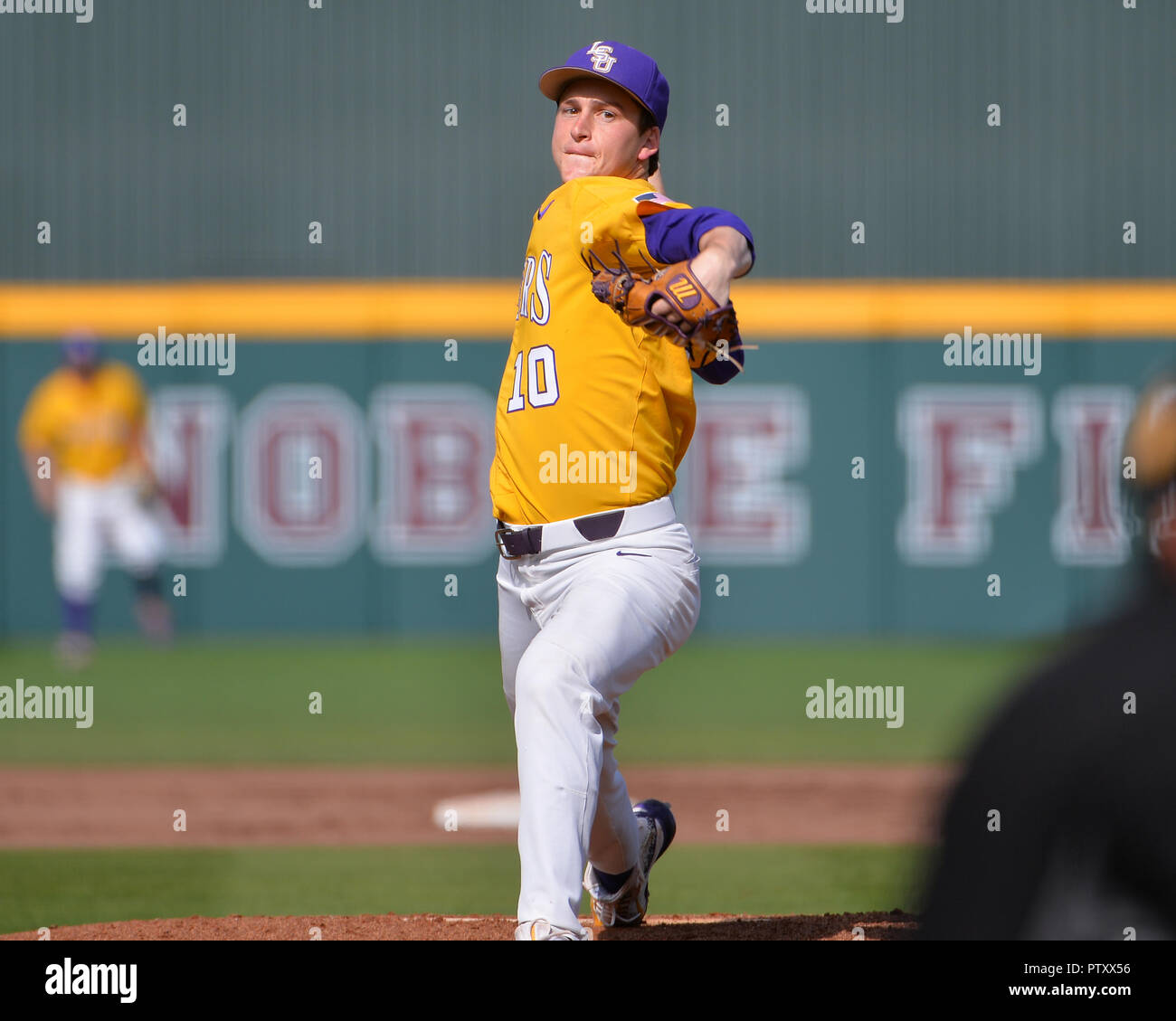 Mississippi, USA.  30th Mar, 2019. LSU pitcher, Eric Walker (10), in action during the NCAA baseball game between the LSU Tigers and the Mississippi State Bulldogs at Dudy Noble Field in Starkville, MS. LSU defeated Mississippi State, 11-2. Kevin Langley/Sports South Media/CSM/Alamy Live News Stock Photo