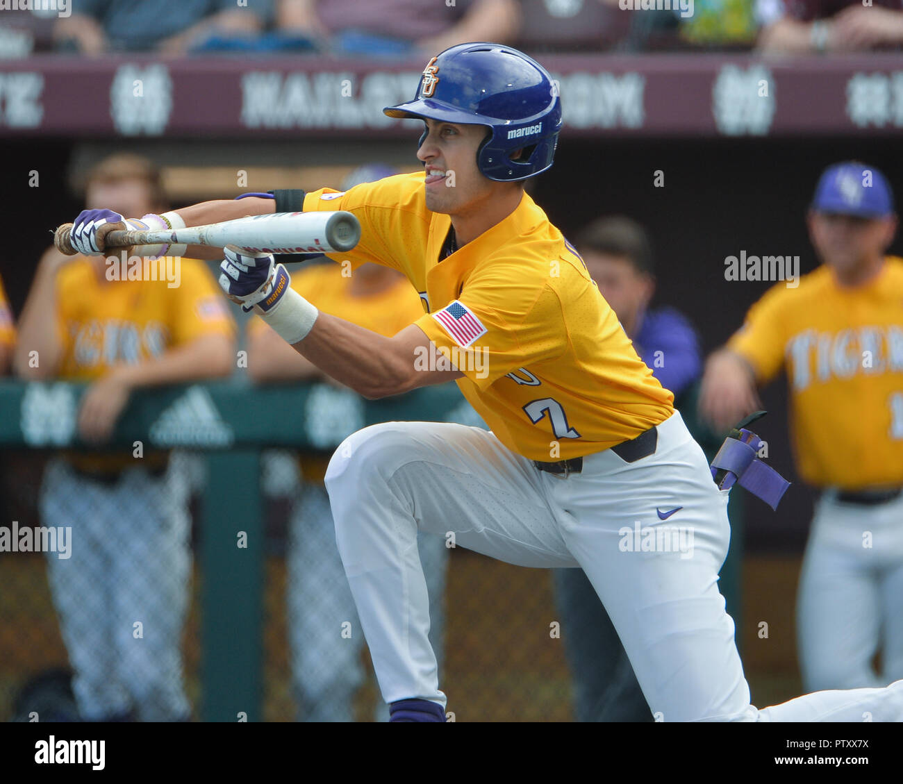 Mississippi, USA.  30th Mar, 2019. LSU outfielder, Giovanni DiGiacomo (7), in action during the NCAA baseball game between the LSU Tigers and the Mississippi State Bulldogs at Dudy Noble Field in Starkville, MS. LSU defeated Mississippi State, 11-2. Kevin Langley/Sports South Media/CSM/Alamy Live News Stock Photo