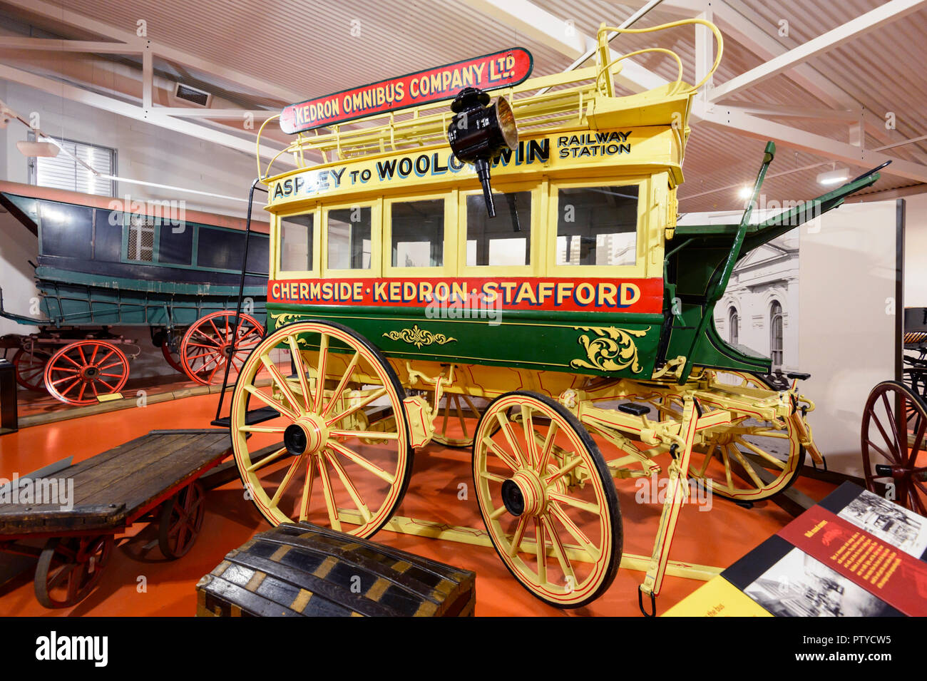 Old Omnibus on display at the Cobb & Co Museum, Toowoomba, Southern Queensland, QLD, Australia - Stock Image
