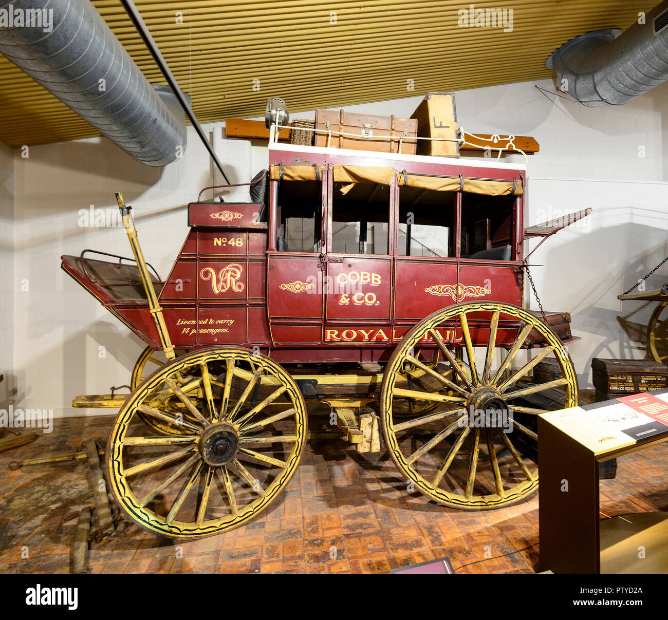 Cobb & Co. Coach 48 on display at the Cobb & Co Museum, Toowoomba, Southern Queensland, QLD, Australia - Stock Image