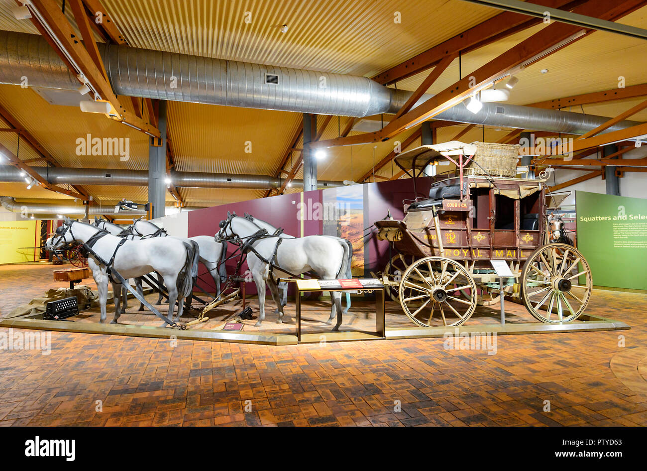Royal Mail Coach on display at the Cobb & Co Museum, Toowoomba, Southern Queensland, QLD, Australia - Stock Image