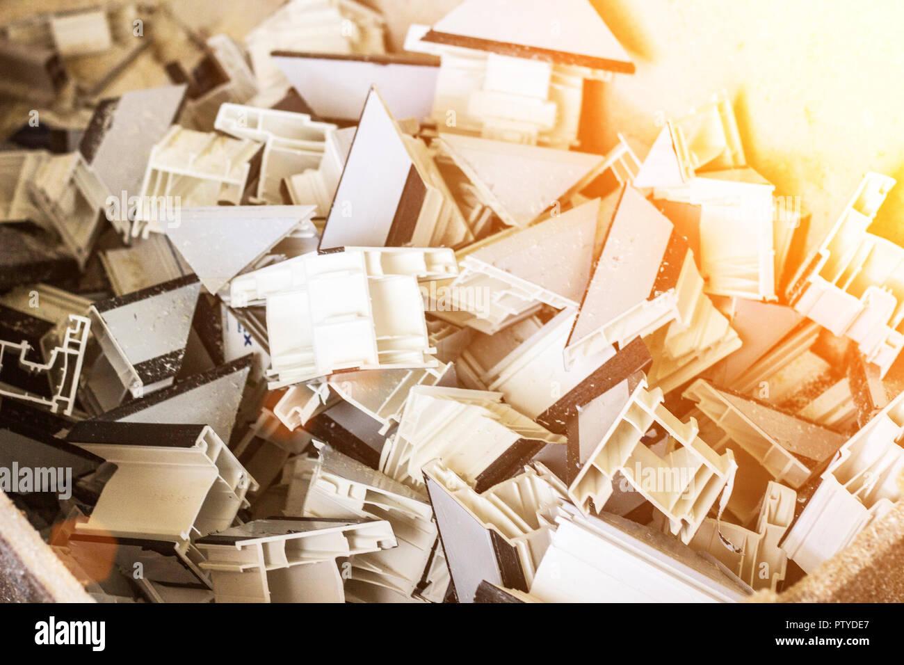 Ventanas Pvc Stock.Production Of Pvc Windows Plastic Profile Waste After