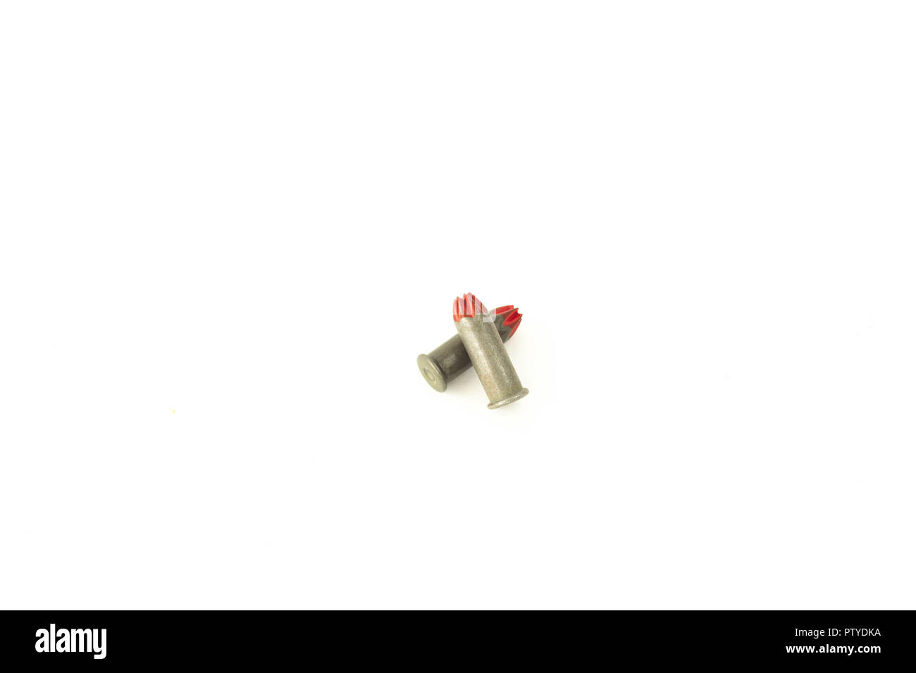 Mounting construction cartridges for building gun, isolate, patron - Stock Image