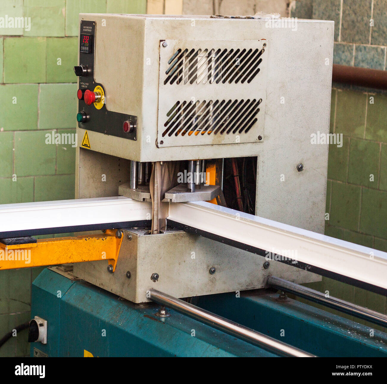 Production of pvc windows, gluing of plastic corners of windows, machine for the production of pvc windows, profile - Stock Image