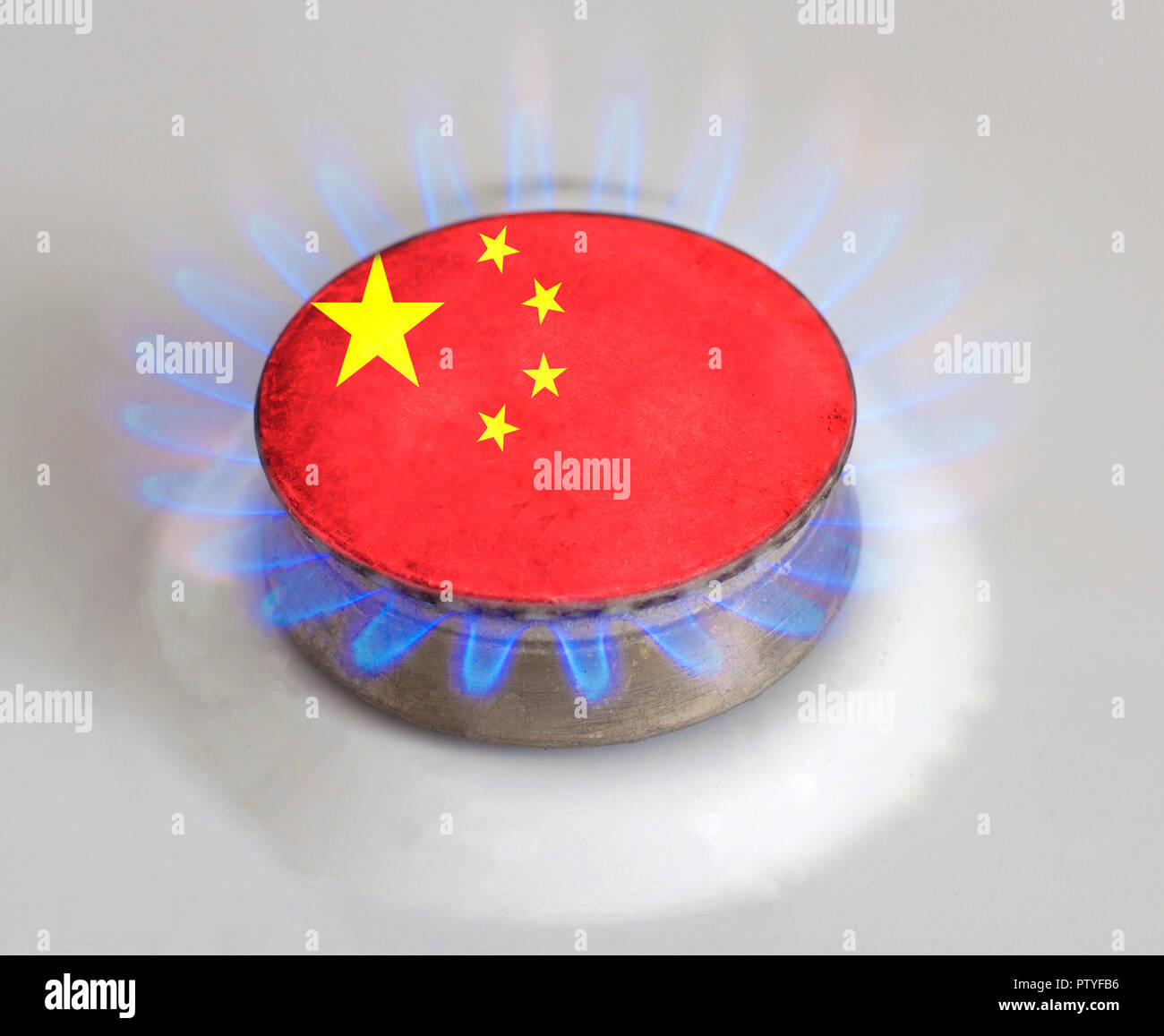Gas burner with the flag of China. Gas of China - Stock Image