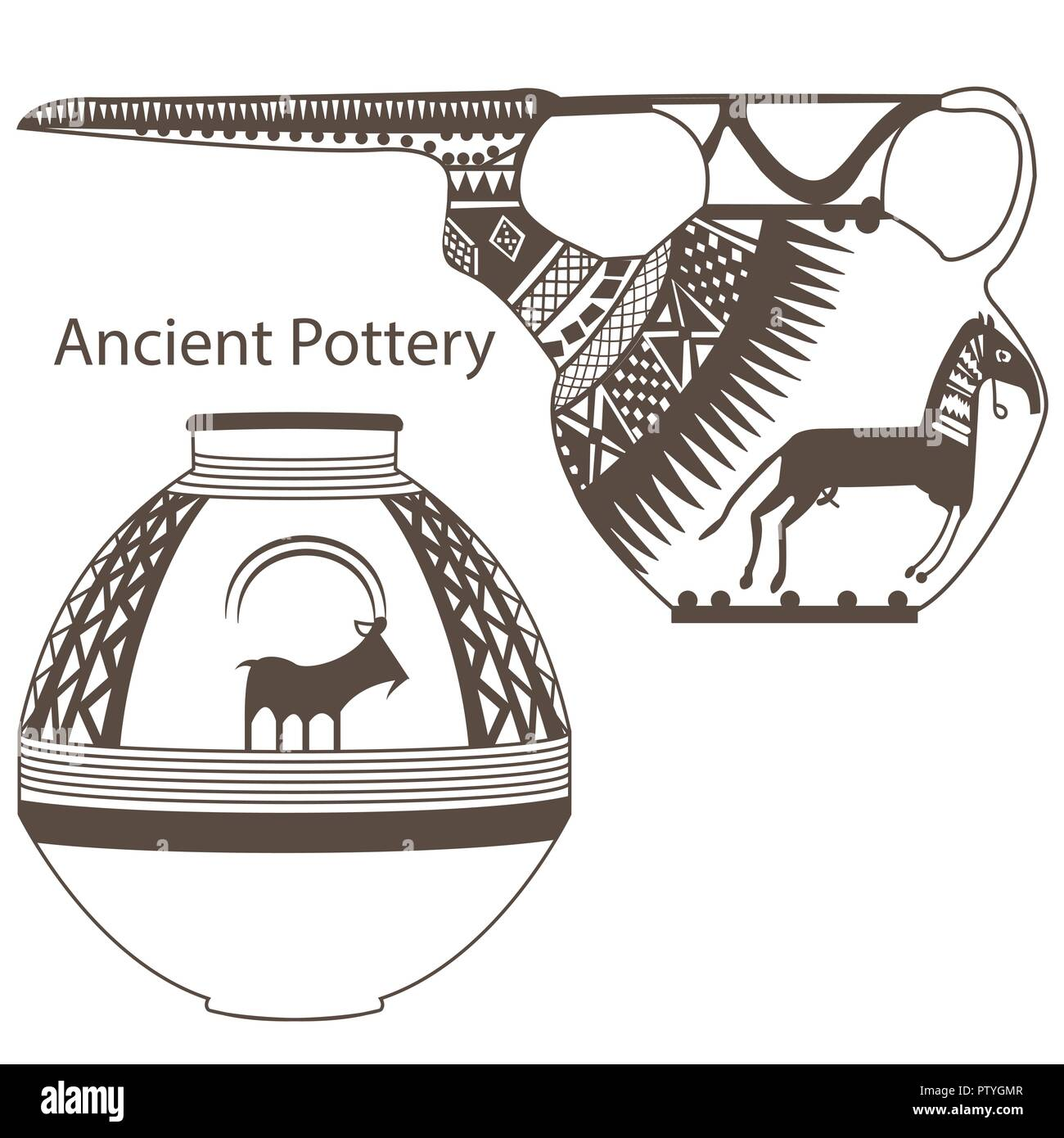 Ancient Pottery Vector - Stock Image
