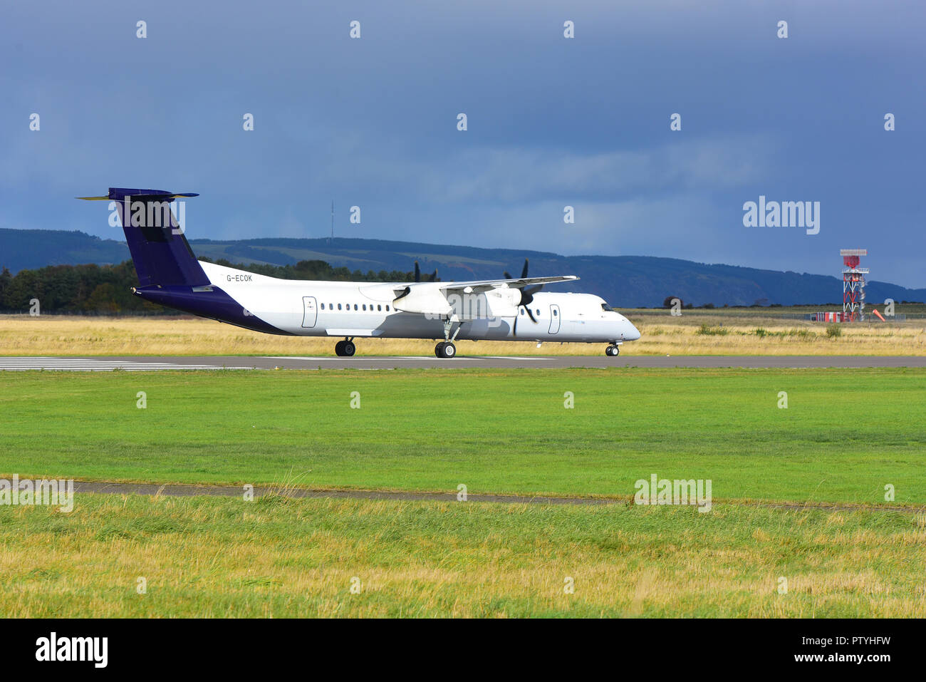 Taxiing on arrival at Inverness Dalcross airport is German registered Cessna Citation 750 X. D-BUZZ. - Stock Image