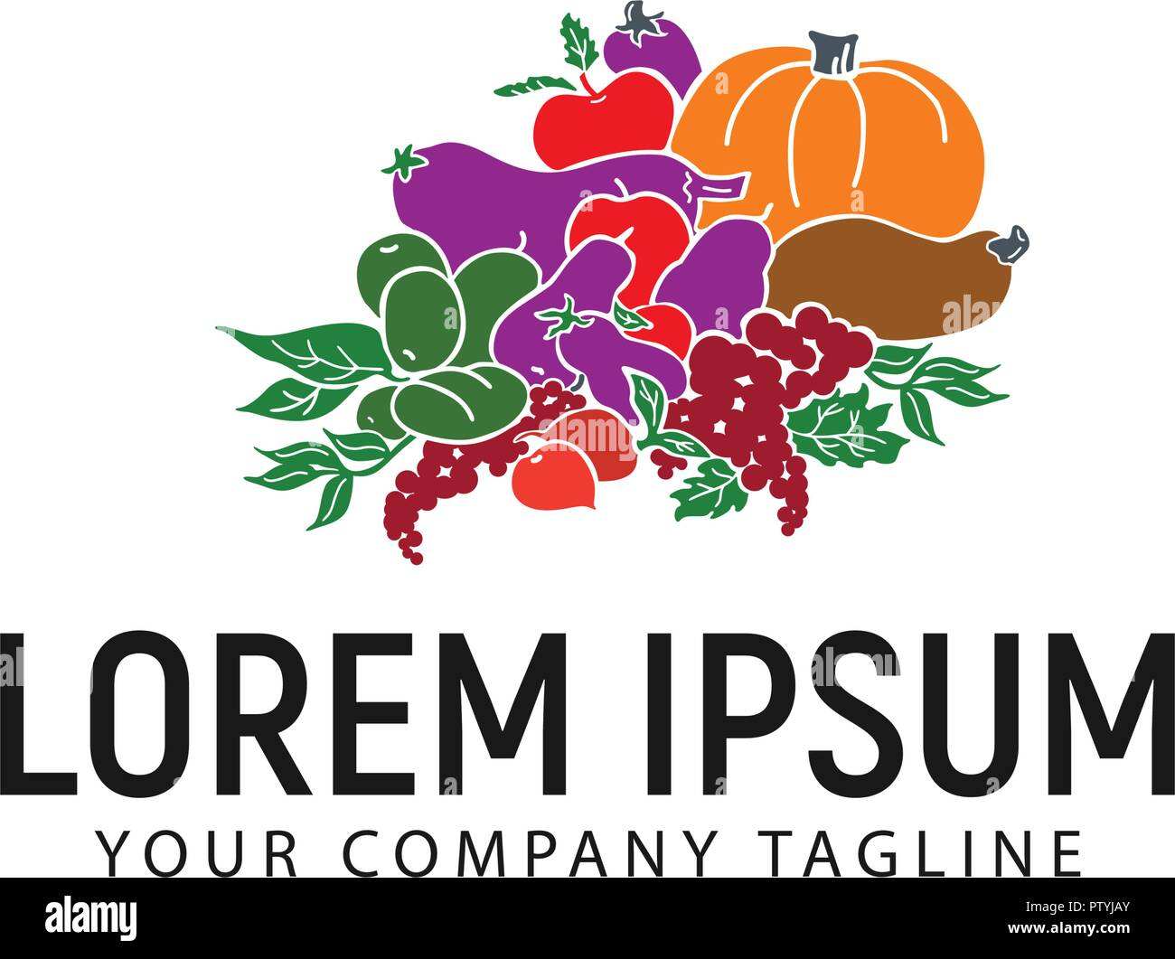 vegetables logo design concept template stock vector art