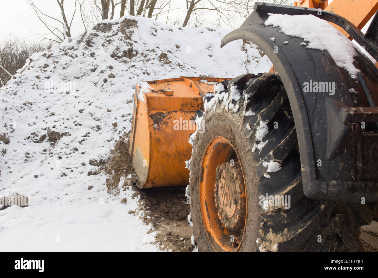 bucket road engineering, construction work - Stock Image