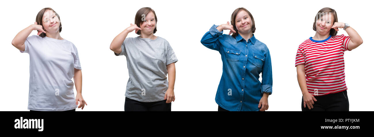 Collage of down sydrome woman over isolated background smiling doing phone gesture with hand and fingers like talking on the telephone. Communicating  - Stock Image
