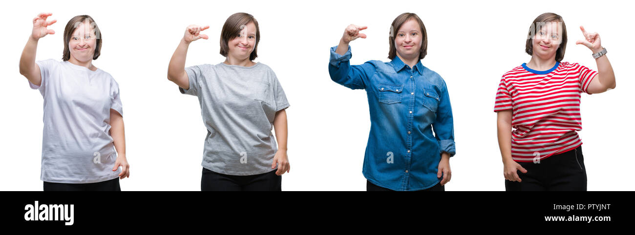 Collage of down sydrome woman over isolated background smiling and confident gesturing with hand doing size sign with fingers while looking and the ca - Stock Image