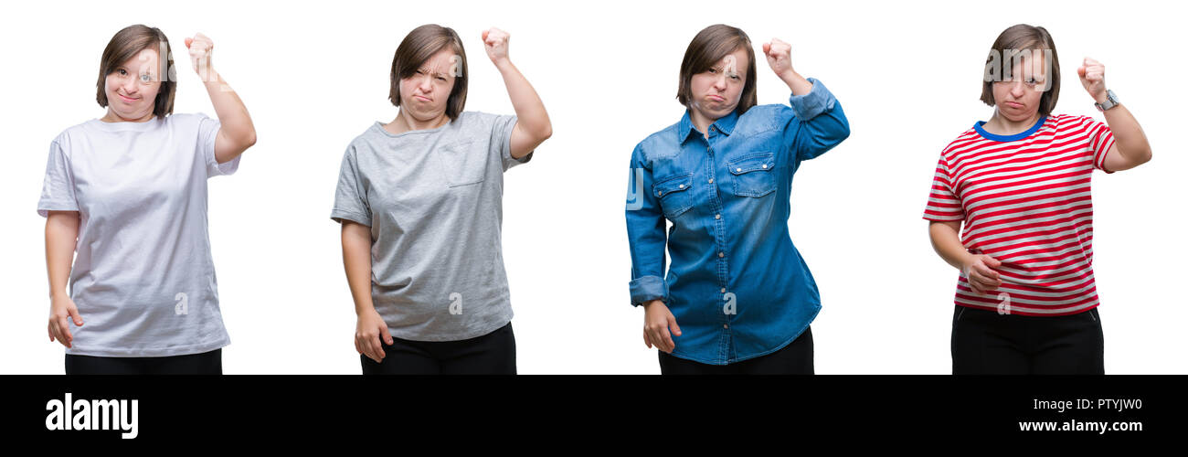Collage of down sydrome woman over isolated background angry and mad raising fist frustrated and furious while shouting with anger. Rage and aggressiv - Stock Image