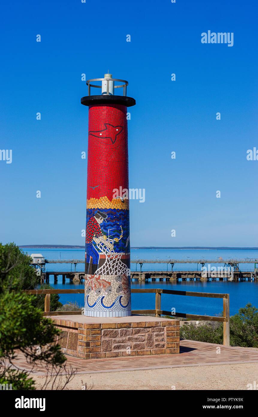 Lighthouse monument at Pinky Point Lookout, deep sea port of Thevenard near Ceduna South Australia - Stock Image