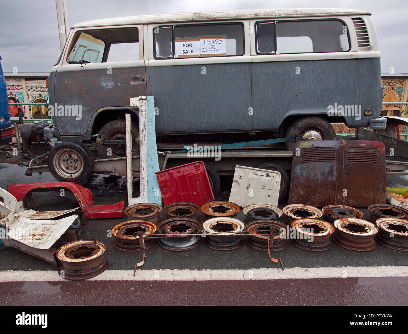 Items For Sale At A Vw Camper Van Rally In Brighton Stock Photo Alamy