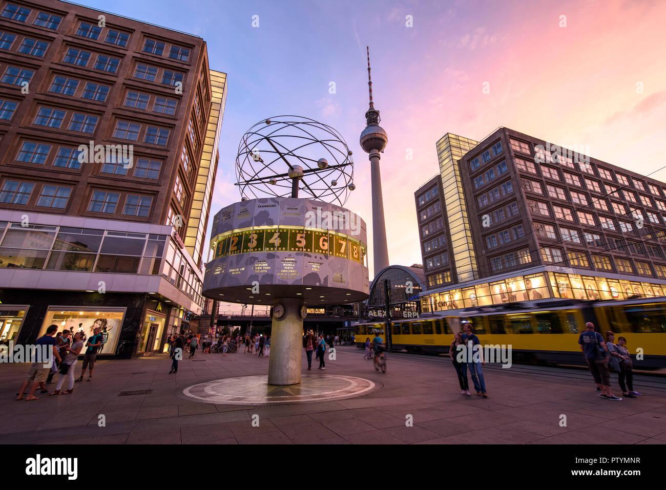 Berlin. Germany. The World Time Clock (Weltzeituhr) and Fernsehturm TV tower on Alexanderplatz. Stock Photo