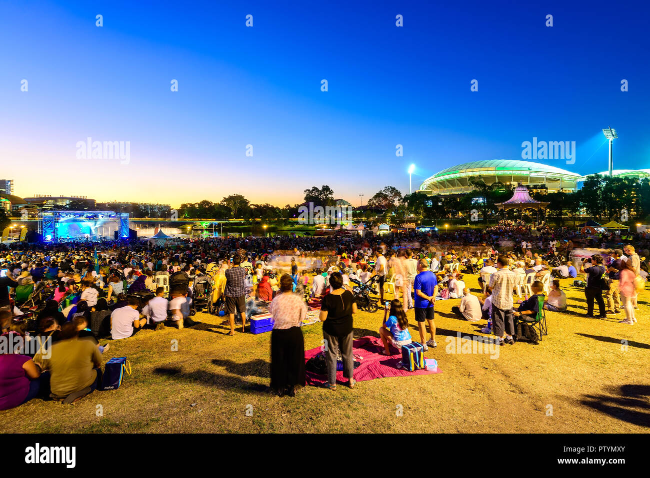 Adelaide, Australia - January 26, 2018: Adelaidians gathered together to celebrate Australia Day in the city in Elder Park. This event is attended by  Stock Photo