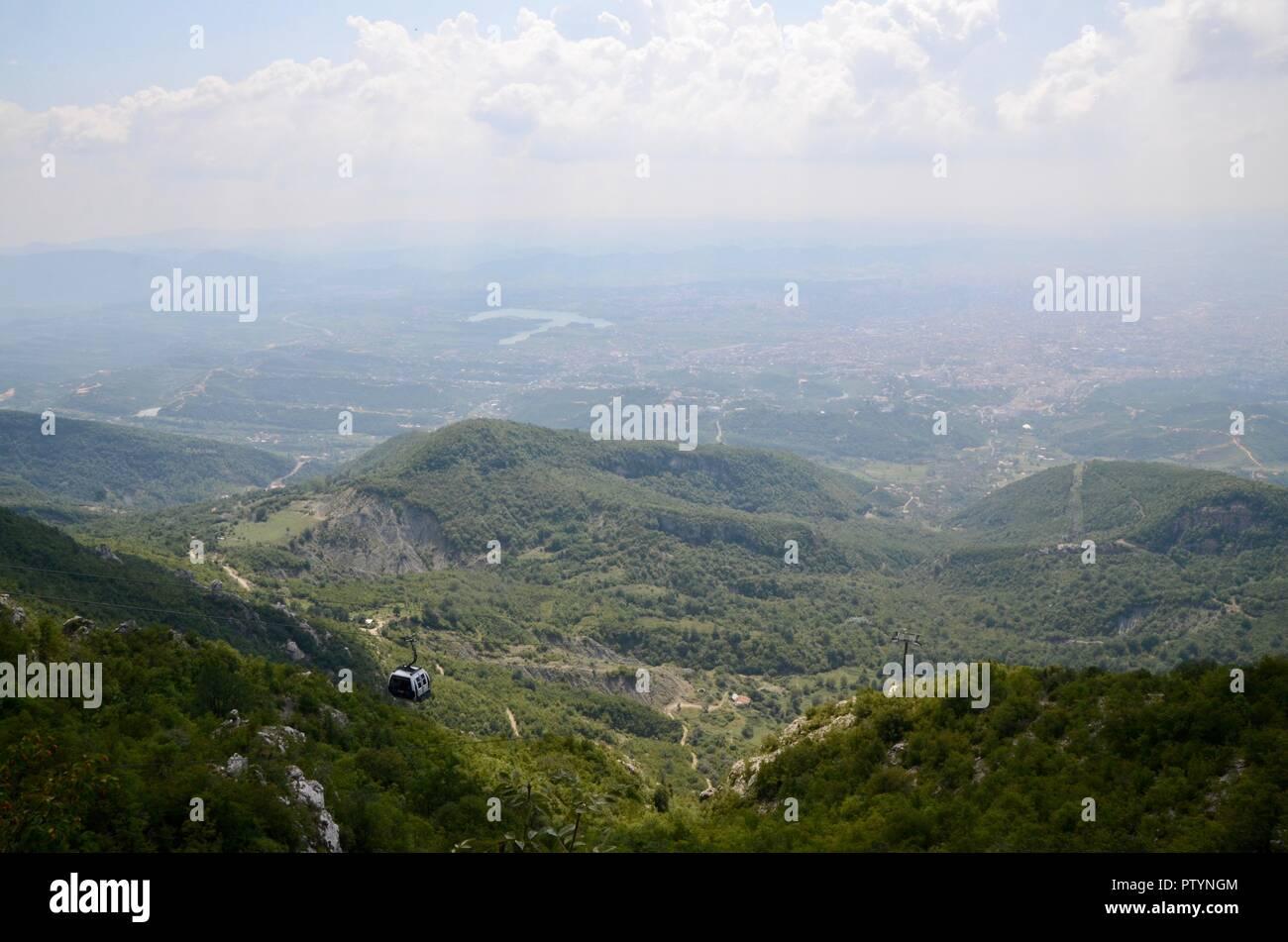 djati express cable car offers amazing views of tirana albania - Stock Image