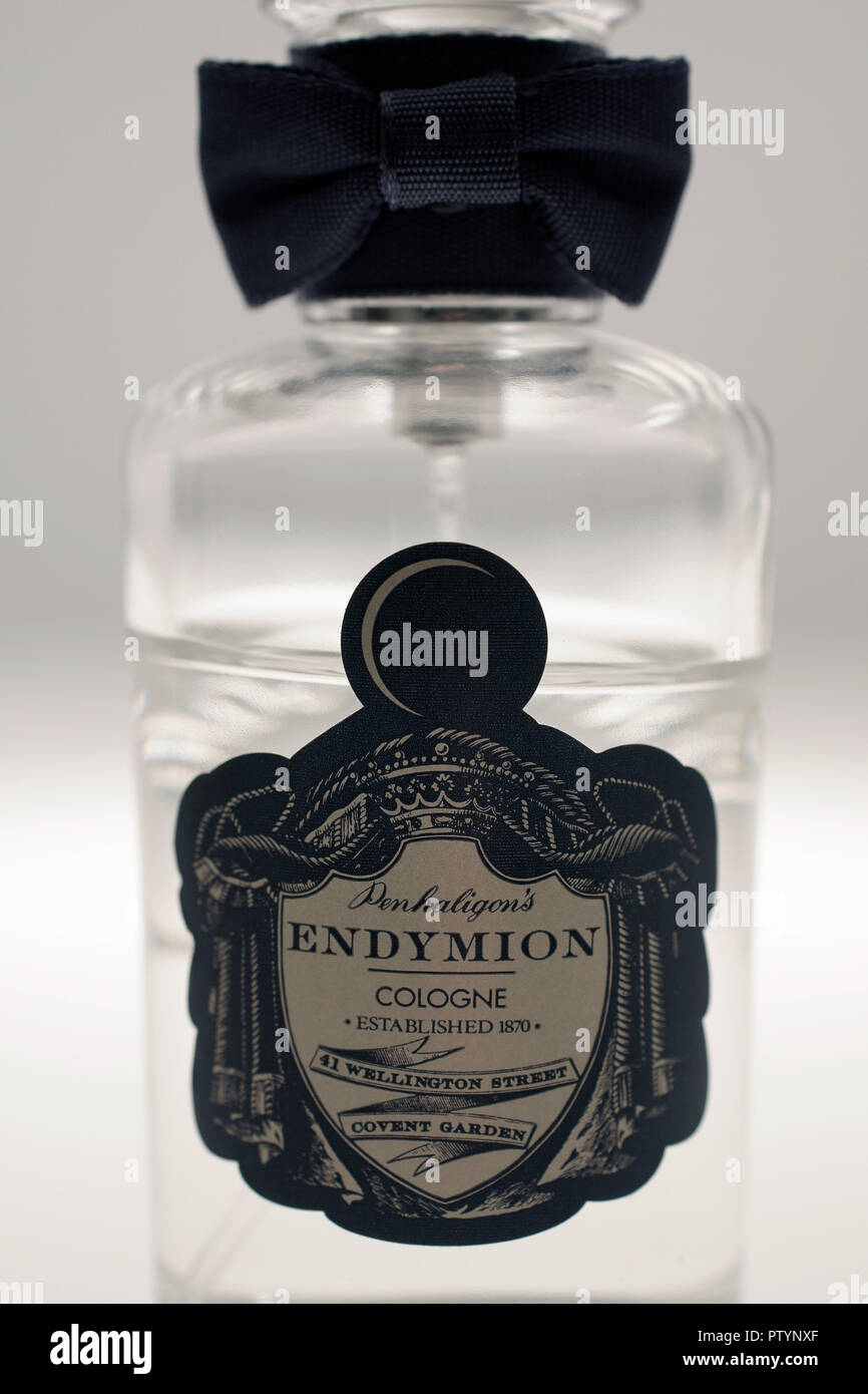 Penhaligons Endymion cologne bottle in close up. Founded in the 1870s by William Henry Penhaligon, a Cornish barber established his business in London - Stock Image