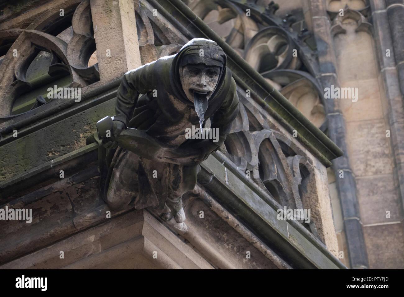A gargoyle at the Prague Castle - Pražský hrad Prague, Czech Republic. Stock Photo