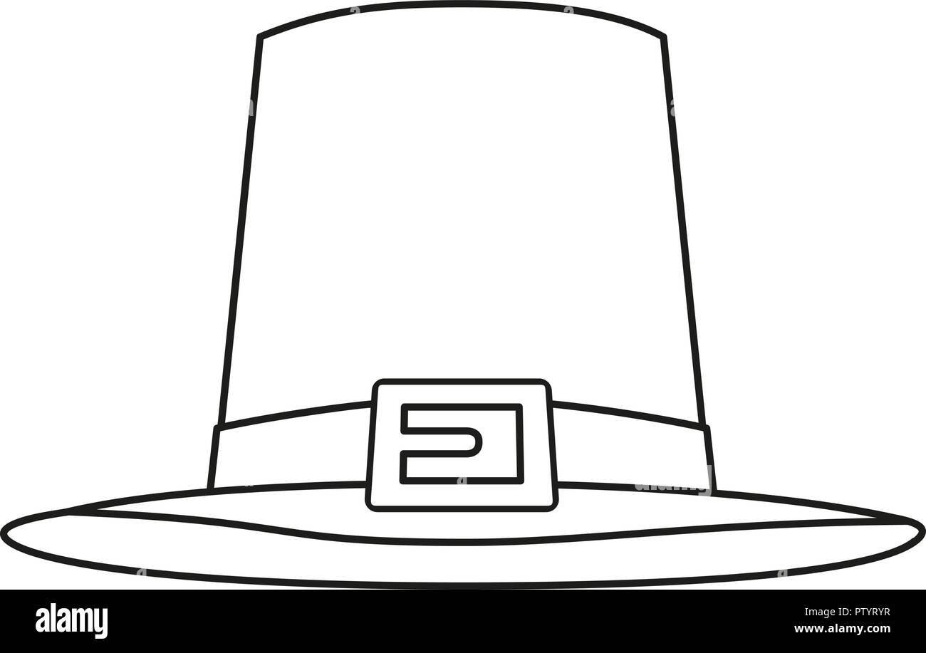 Line art black and white thanksgiving hat - Stock Vector