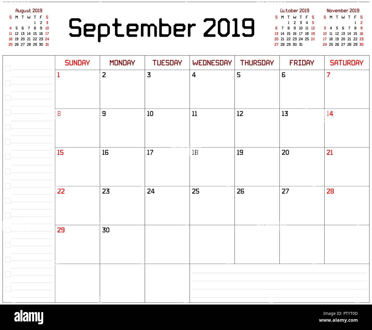 Calendar Planner September 2019.A Monthly Planner Calendar For September 2019 On White Background A