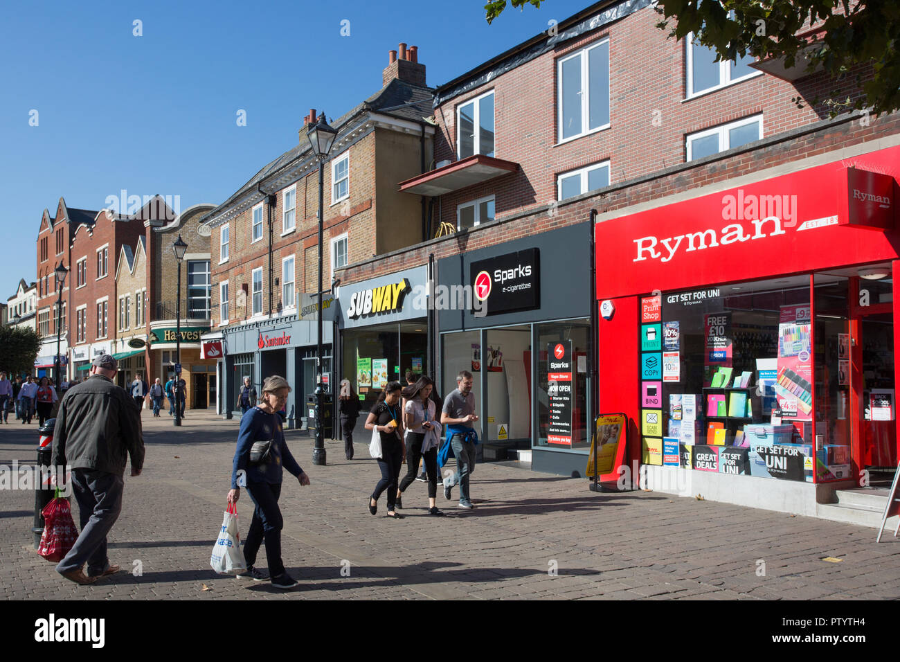 High Street, town centre, Staines-upon-Thames, Surrey Stock Photo