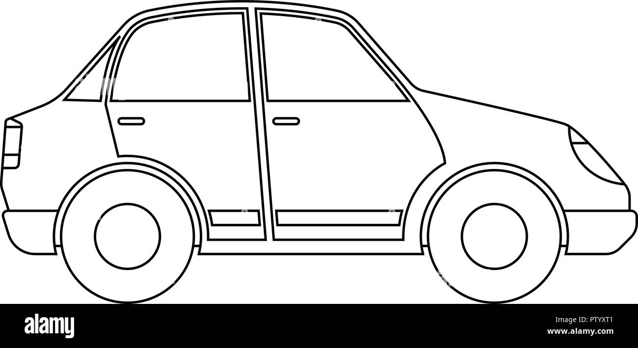 Car Outline Black And White Stock Photos & Images