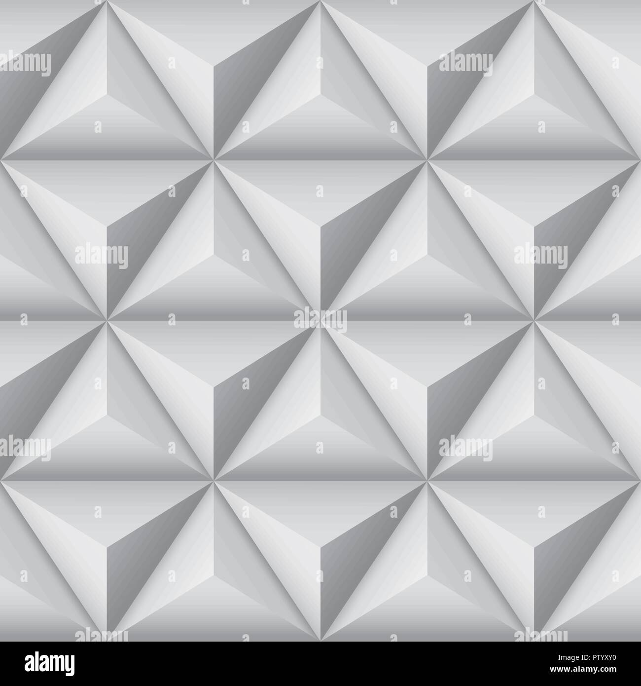 3d geometric pattern with pyramids. Abstract gray seamless background Stock Vector