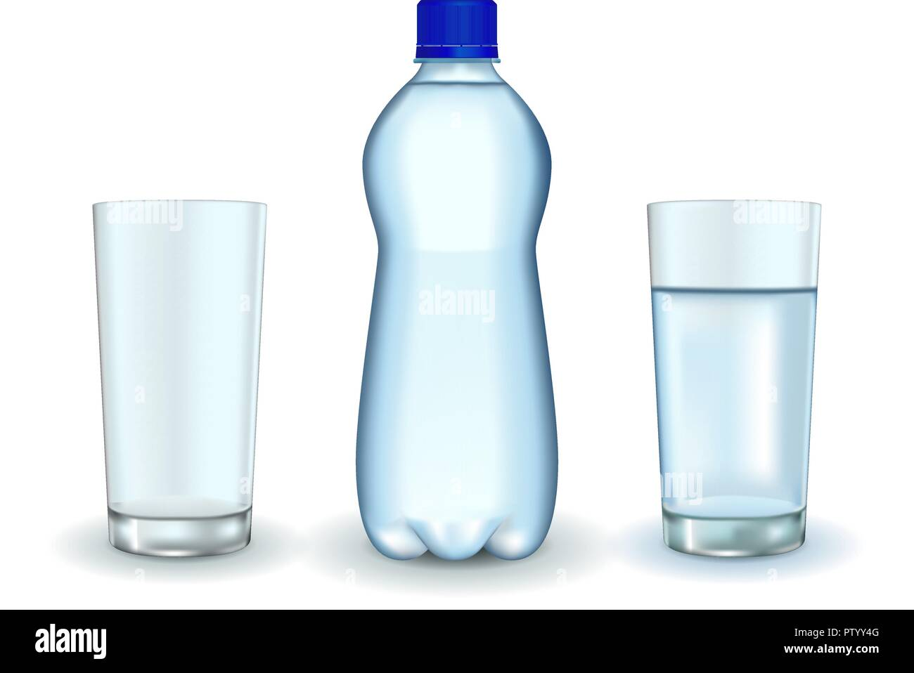 Bottle of water with glasses - Stock Image
